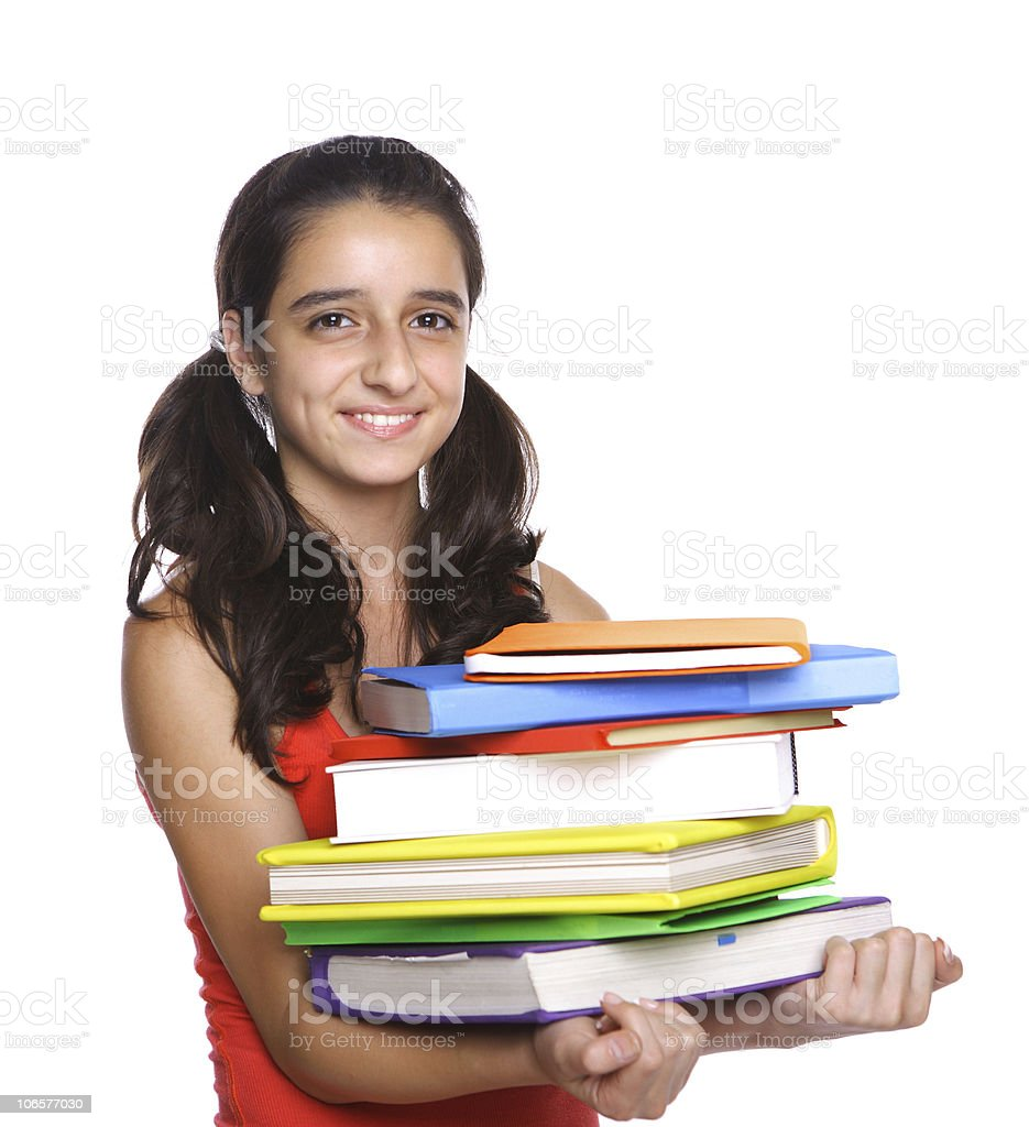 Young Girl holding school books royalty-free stock photo