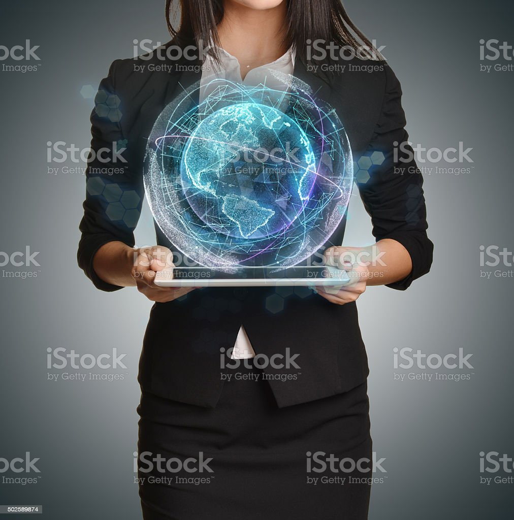 Young girl holding tablet in the hands of virtual digital stock photo