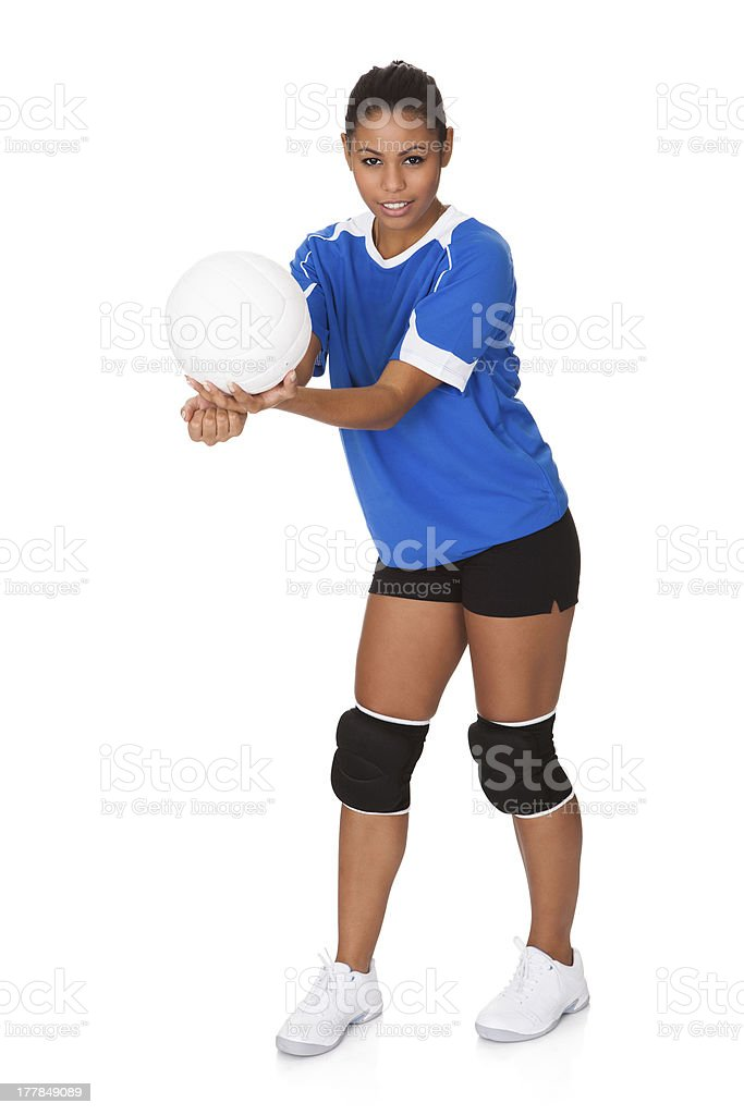 Young Girl Holding Volleyball royalty-free stock photo