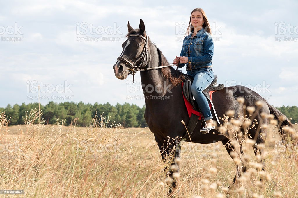 Young girl in a denim suit on a dark horse. stock photo