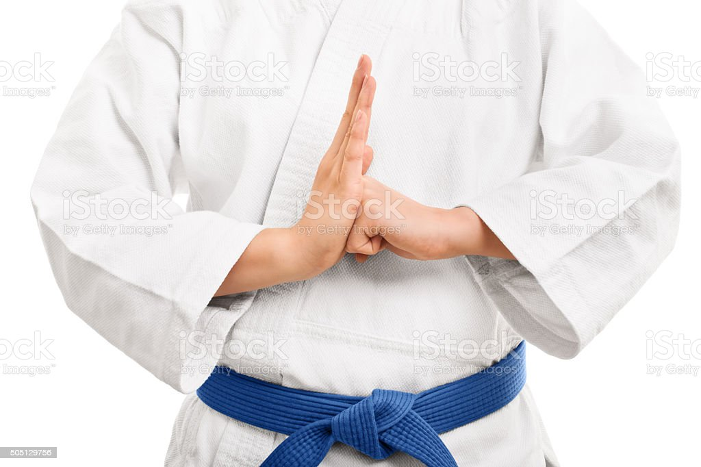 Young girl in a kimono in budo stance stock photo