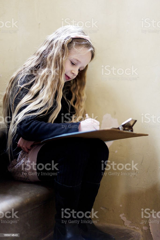 Young girl in a museum royalty-free stock photo