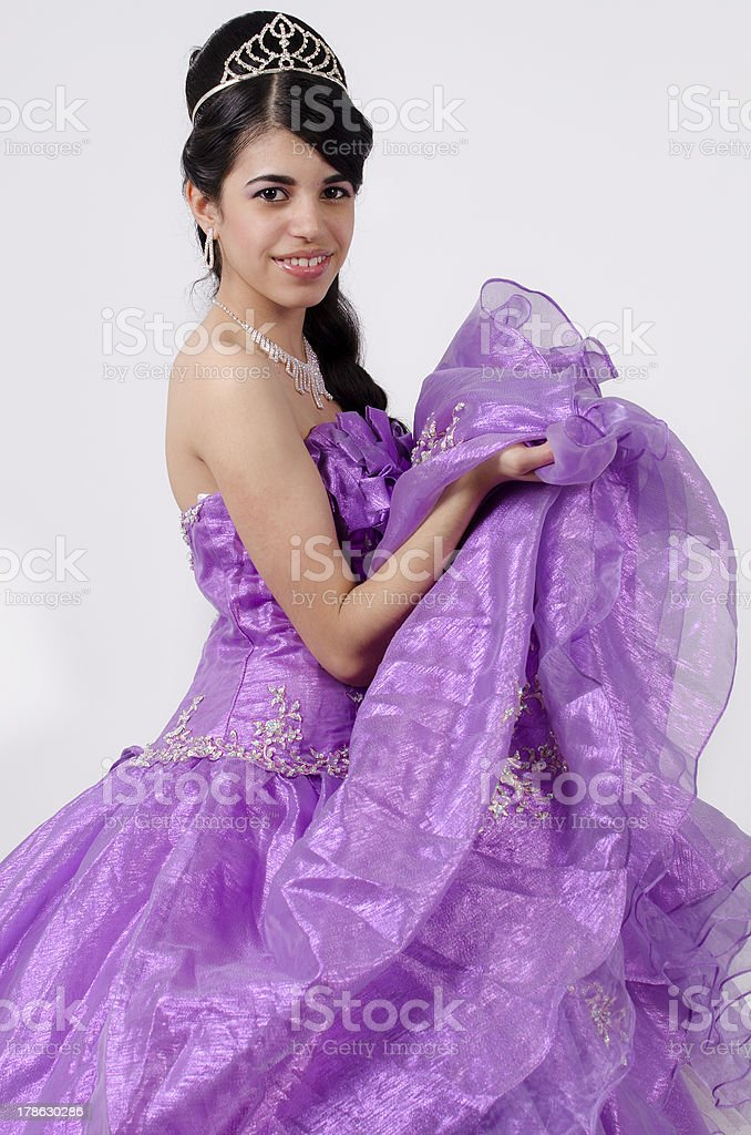 Young Girl in a Purple Dress royalty-free stock photo