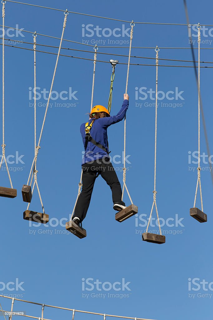 Young Girl in Amusement Park stock photo