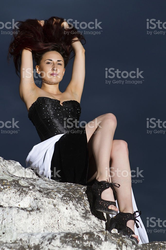 young girl in  black dress royalty-free stock photo