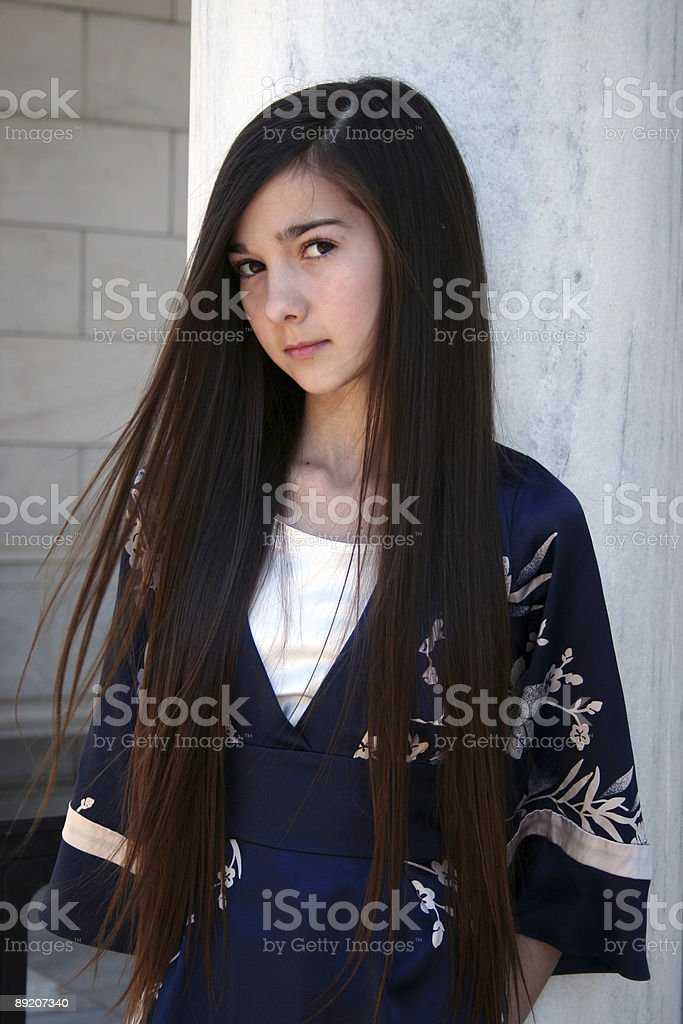 Young Girl in Blue Kimono with White Background royalty-free stock photo