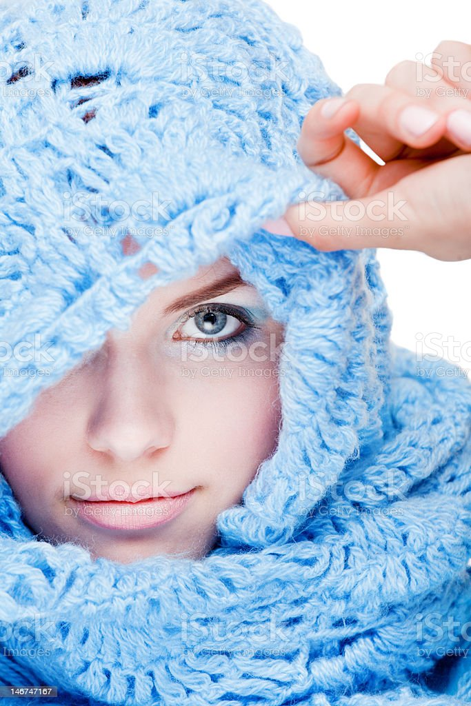 Young girl in blue wool scarf royalty-free stock photo