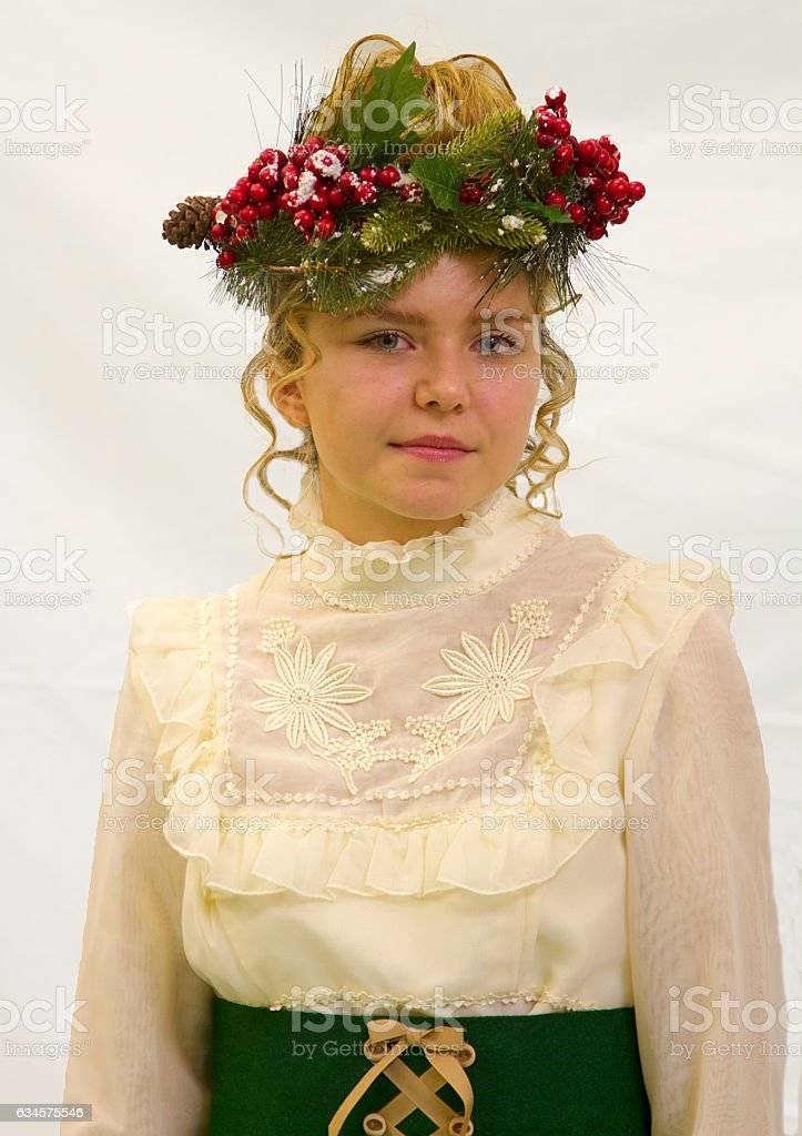 Young girl in Christmas Costume stock photo