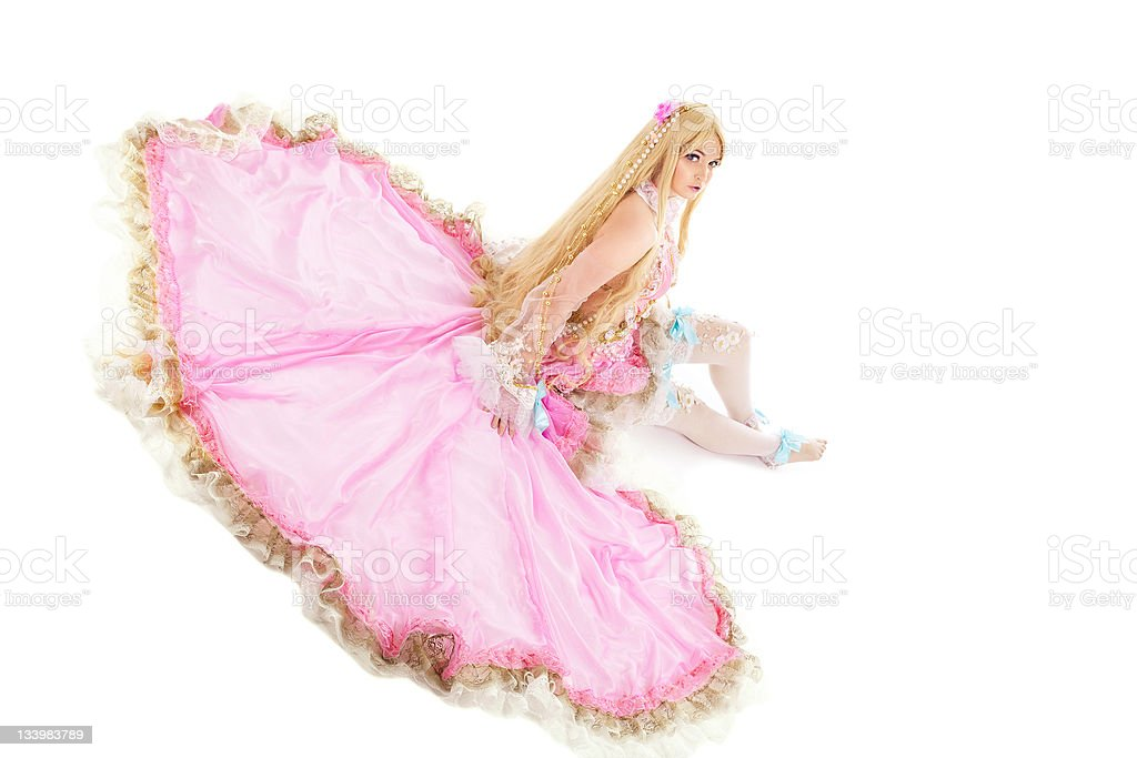 Young girl in fairy-tale doll costume isolated royalty-free stock photo