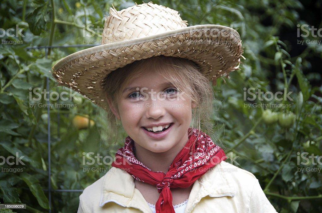 Young girl in family garden stock photo