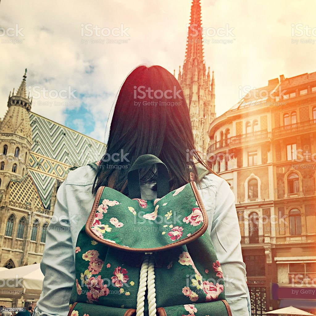 Young girl in front of Stephansdom Cathedral in Vienna stock photo