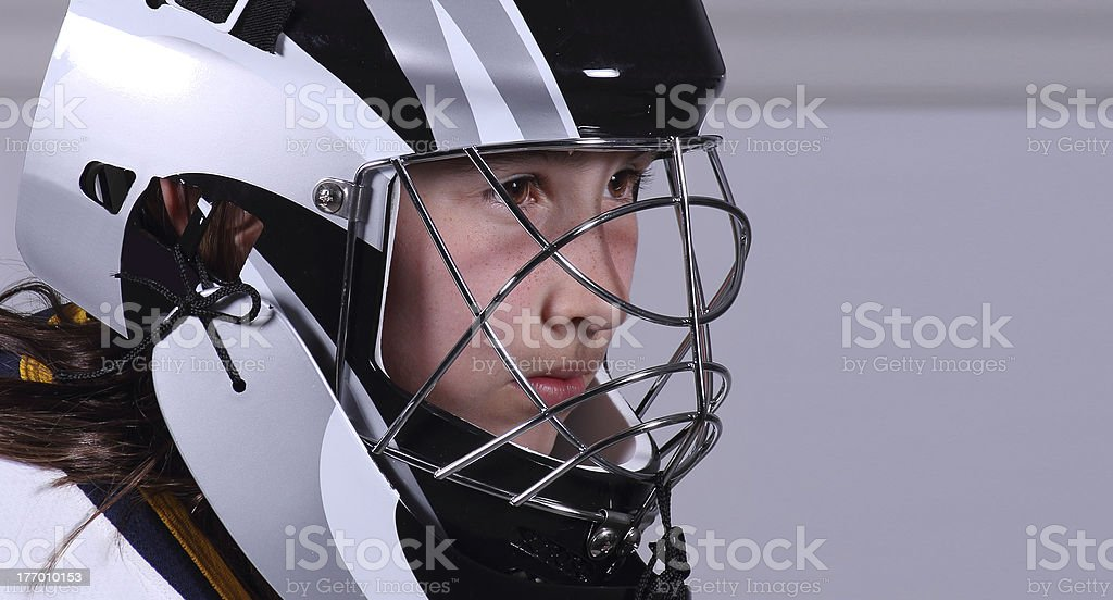 Young girl in goalie mask royalty-free stock photo