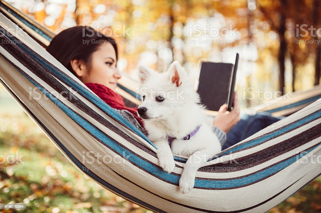 Young girl in hammock with dog and e-book stock photo