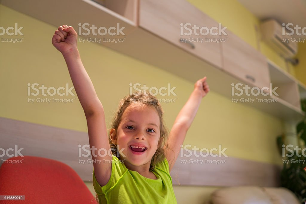 young girl in office stock photo
