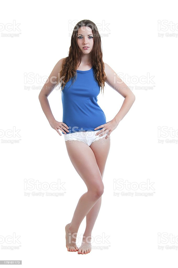Young Girl in Panties and Camisole stock photo