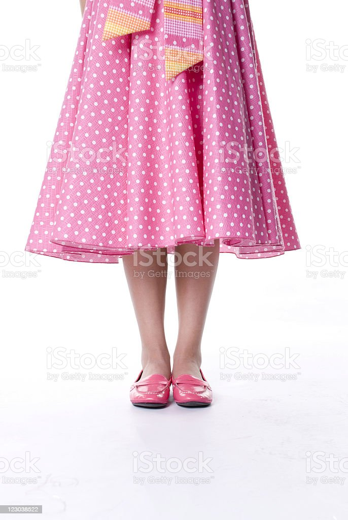 Young Girl in Pink Polka dot dress stock photo
