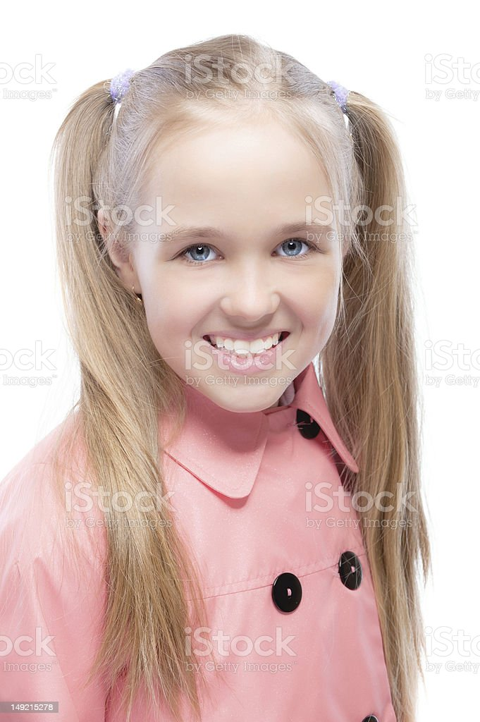 Young girl in pink raincoat royalty-free stock photo