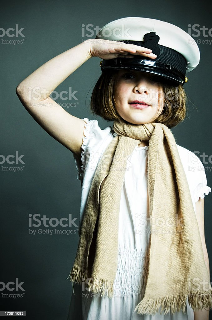 Young Girl In Studio, Playing Dress Up royalty-free stock photo