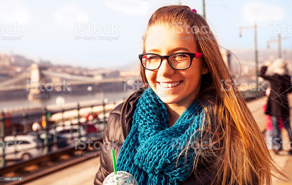 Young girl in the city. stock photo