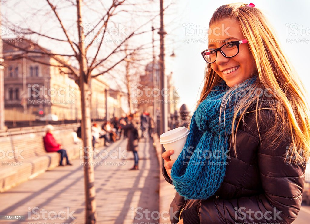 Young girl in the city stock photo