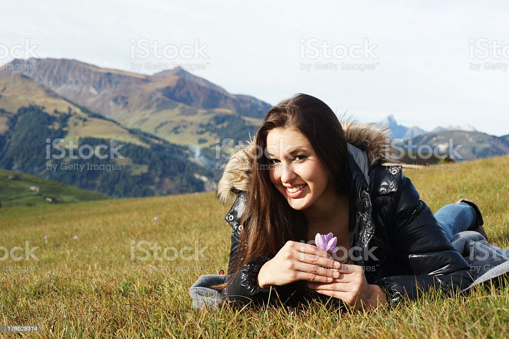 Young girl in the mountains royalty-free stock photo
