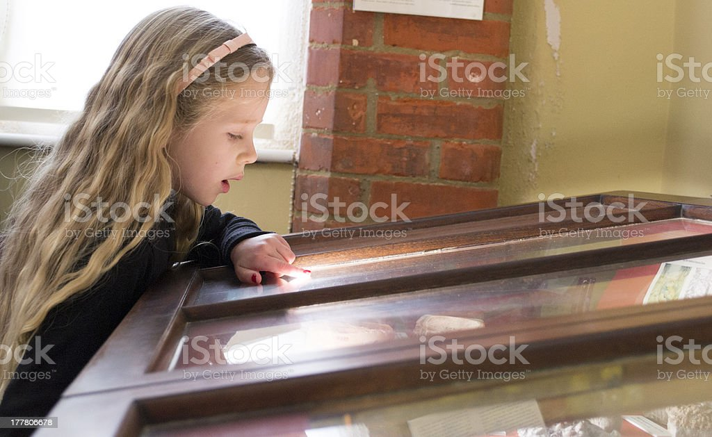 Young girl in the museum stock photo