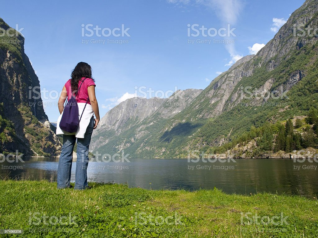 Young girl in the Naeroyfjord stock photo