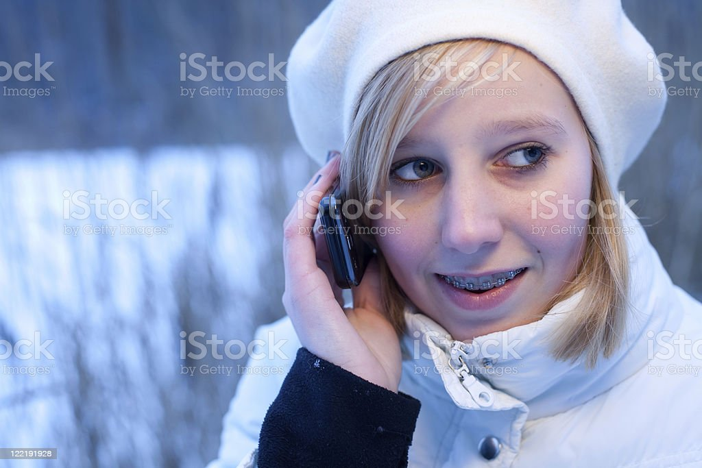 Young Girl In The Snow stock photo