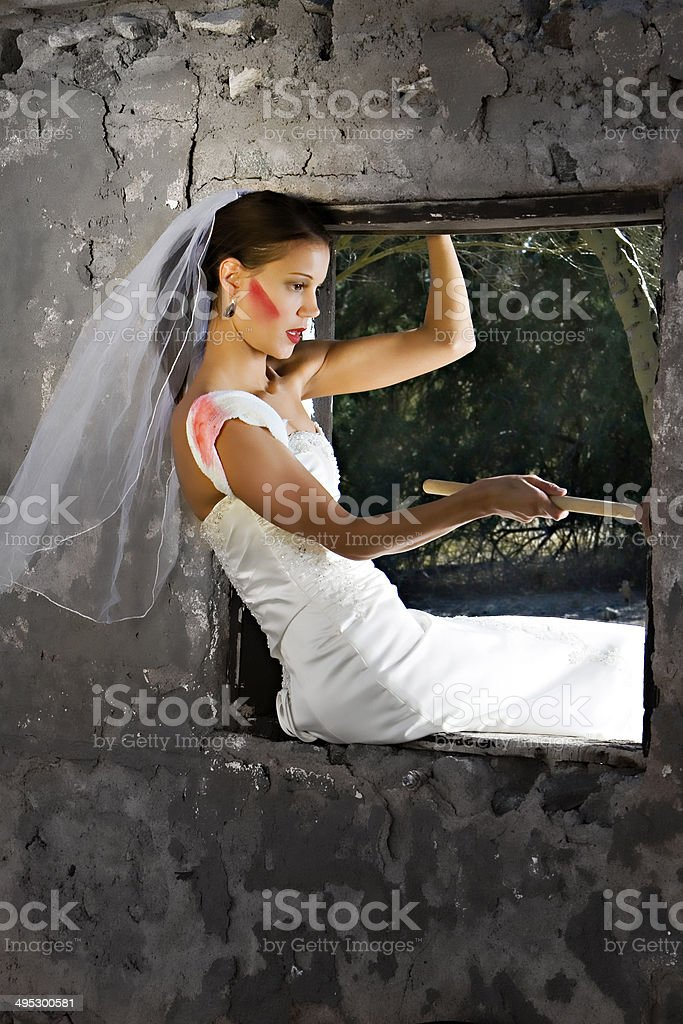 Young Girl in the Window stock photo
