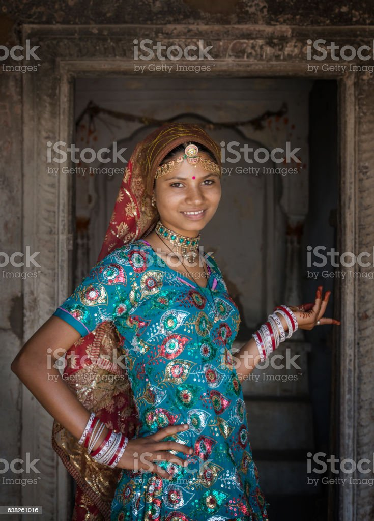 Young girl in traditional clothing, Rajasthan, India stock photo