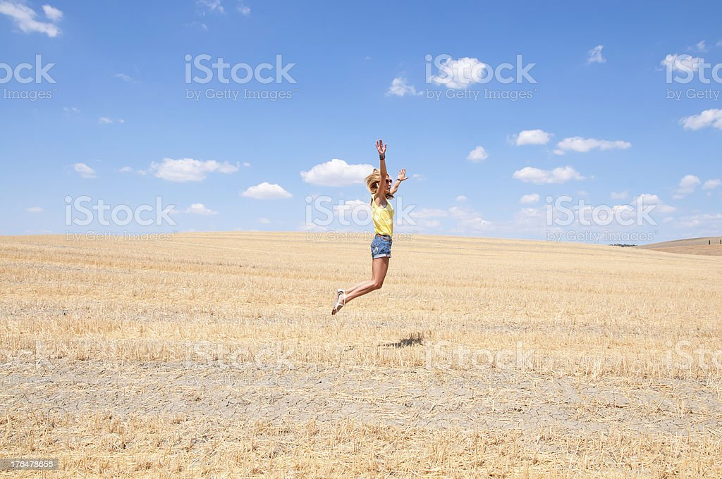 Young girl in Tuscany countryside, Italy. royalty-free stock photo