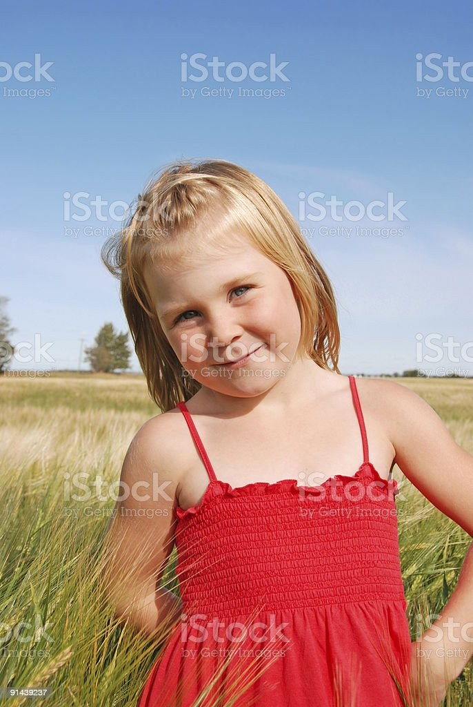 Young girl in wheat field. royalty-free stock photo