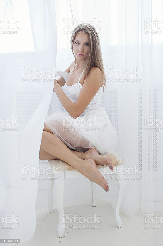 Young girl in white royalty-free stock photo