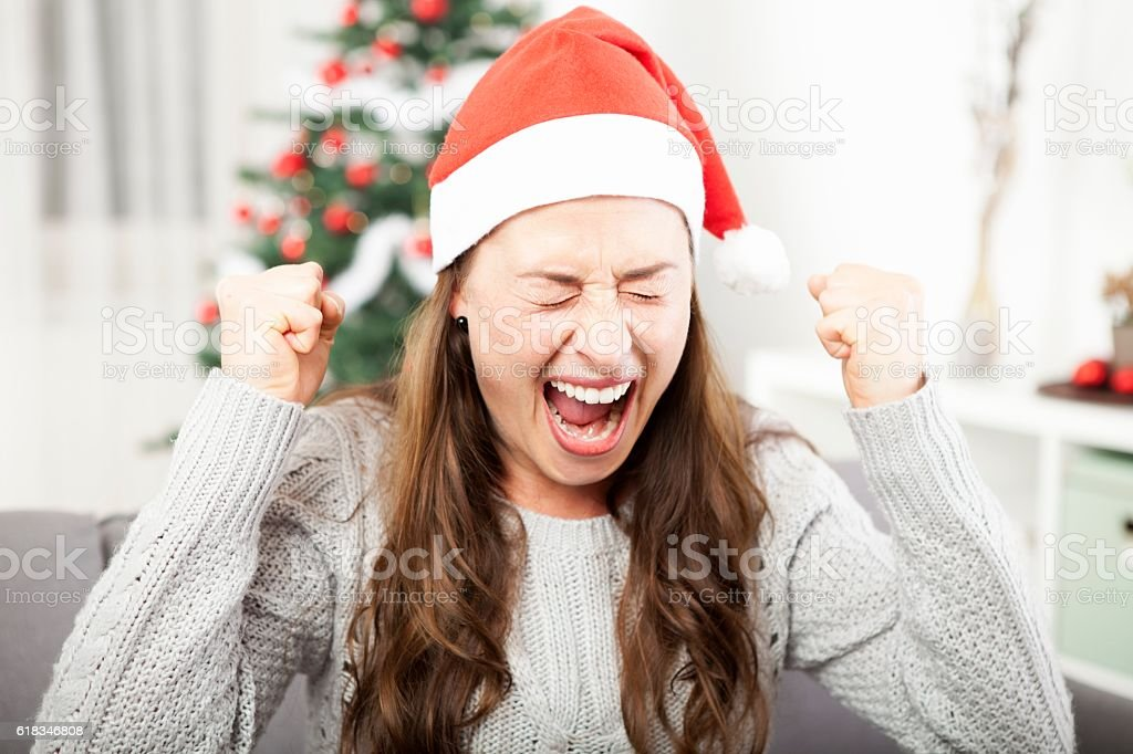 young girl is frustrated about christmas stock photo