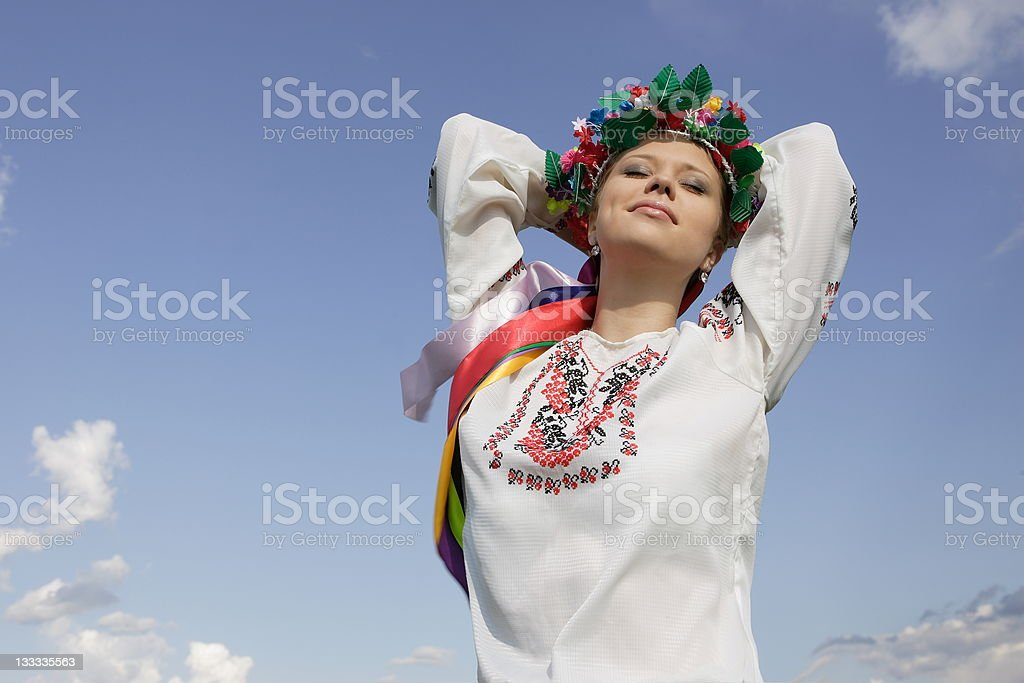 young girl is in the Ukrainian suit royalty-free stock photo