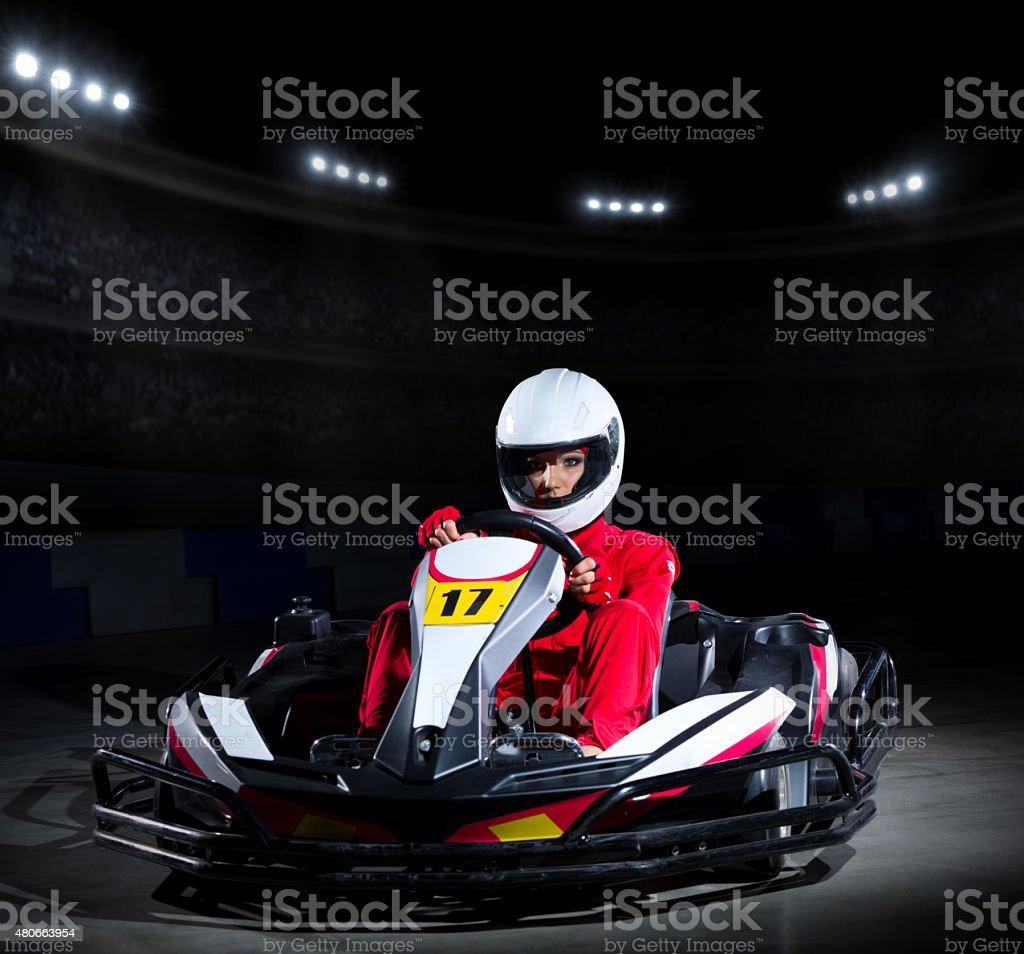 Young girl karting racer stock photo