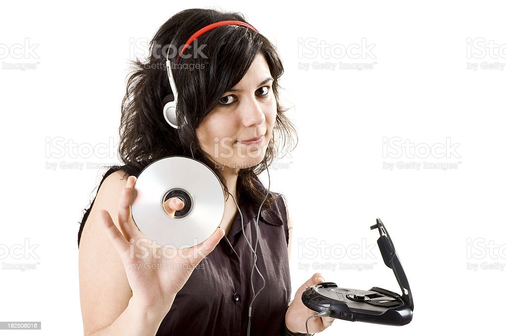 young girl listening music stock photo