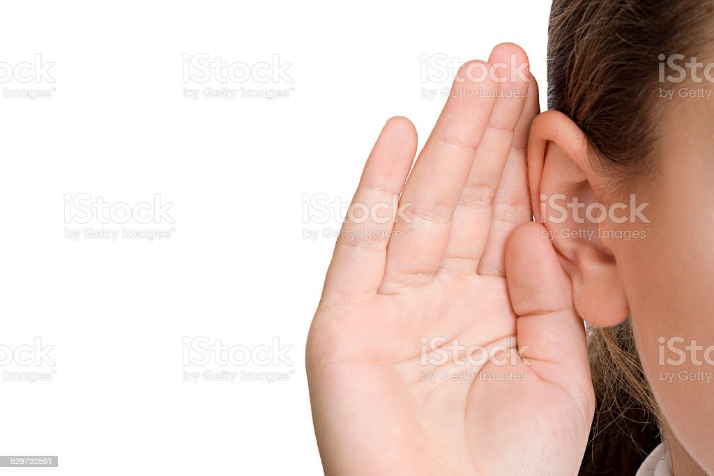 Young girl listening stock photo