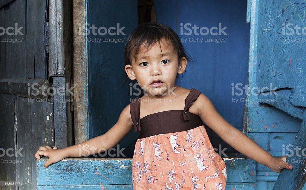 Young girl living in poverty royalty-free stock photo