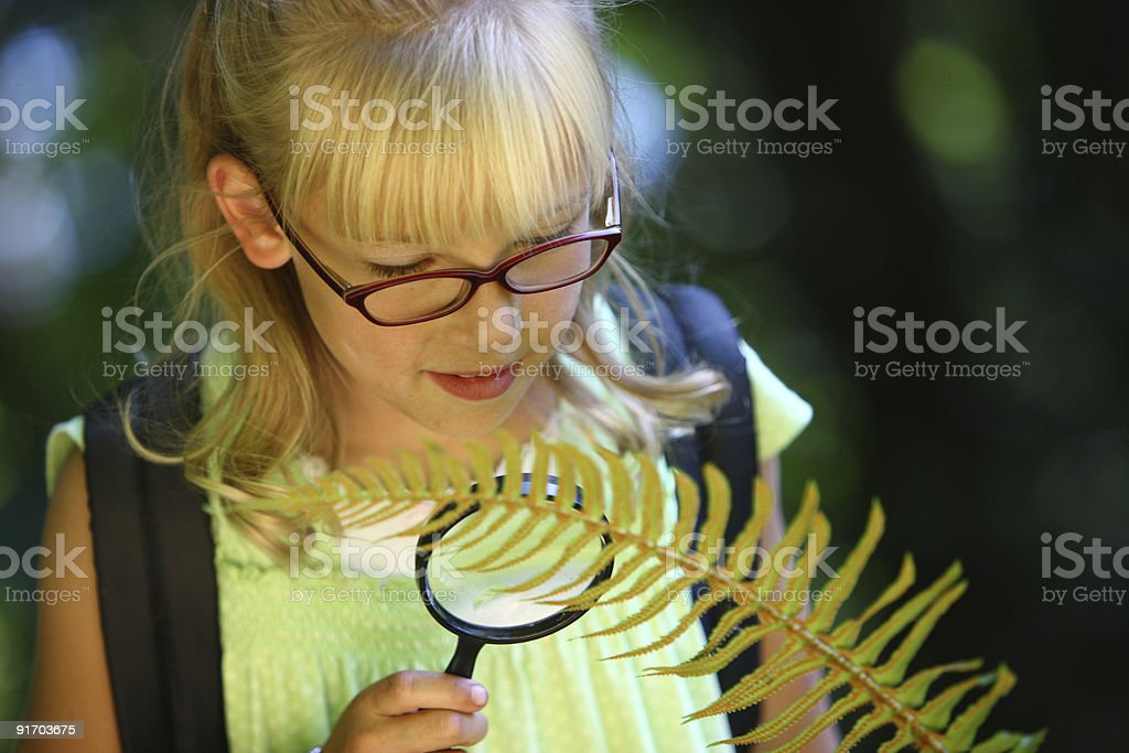 Young girl looking at fern with magnifying glass royalty-free stock photo