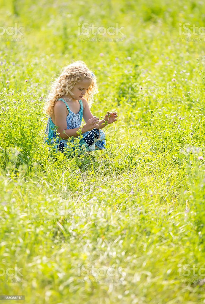 Young Girl Looking At Wildflowers In Morning Light stock photo