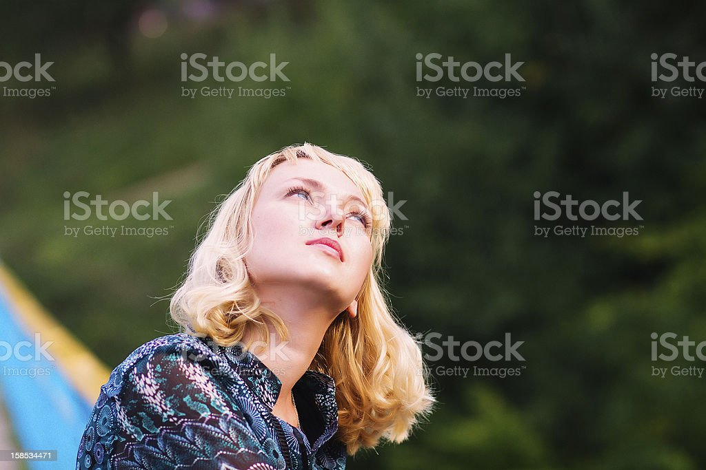 young  girl looks royalty-free stock photo