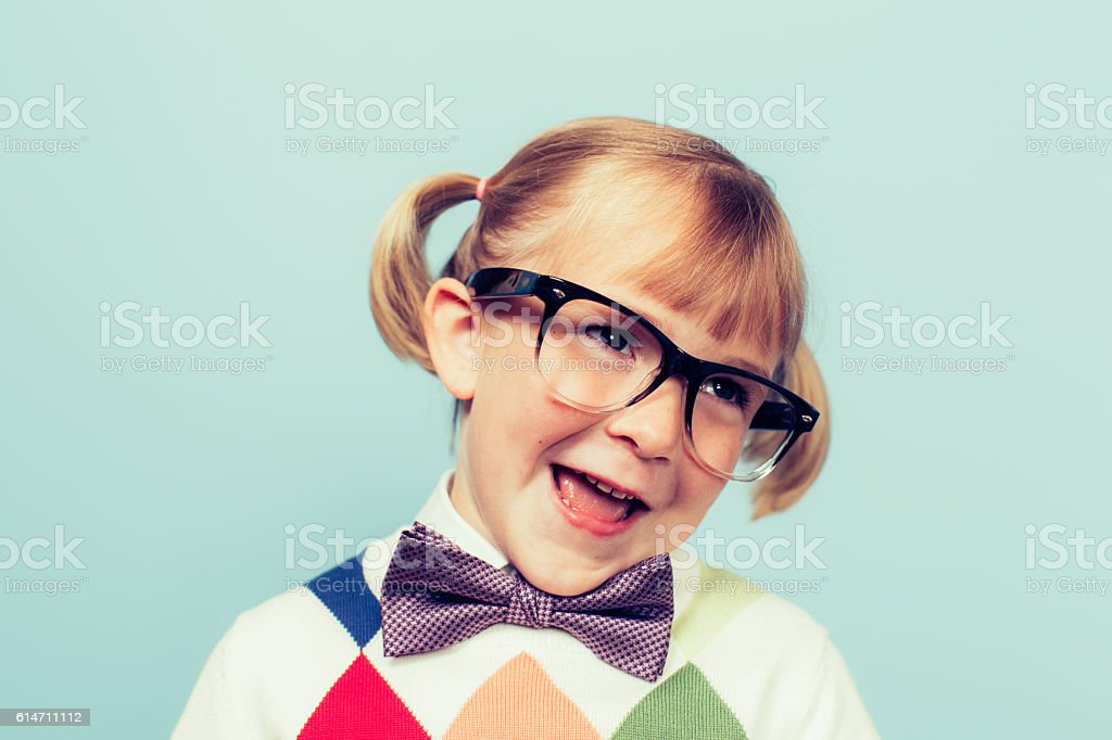 Young Girl Nerd with Goofy Smile stock photo