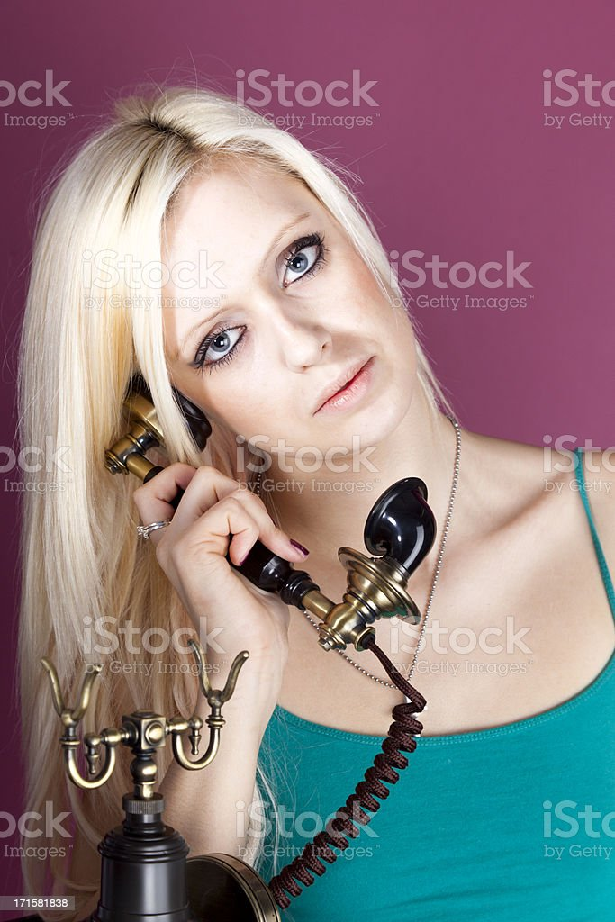 Young Girl Old Telephone royalty-free stock photo