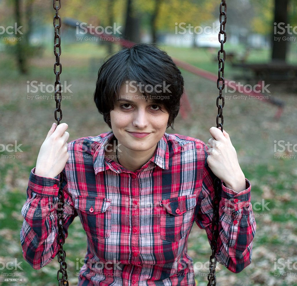Young girl on a swing royalty-free stock photo