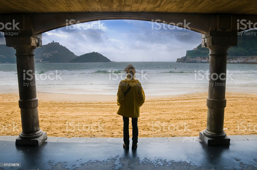 Young girl on Donostia beach stock photo