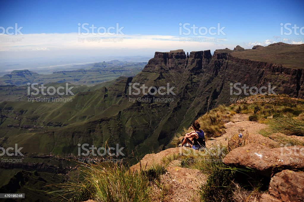 young girl overviewing drakensberg stock photo