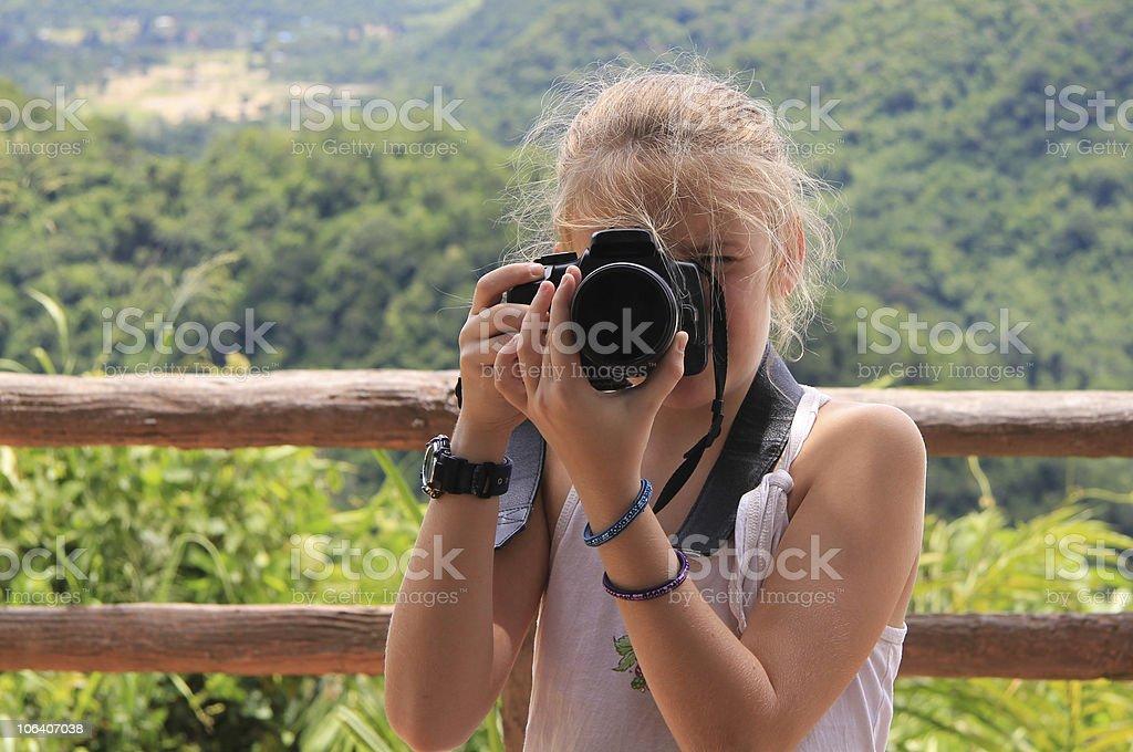 Young Girl Photographer, Khao Yai, Thailand. royalty-free stock photo