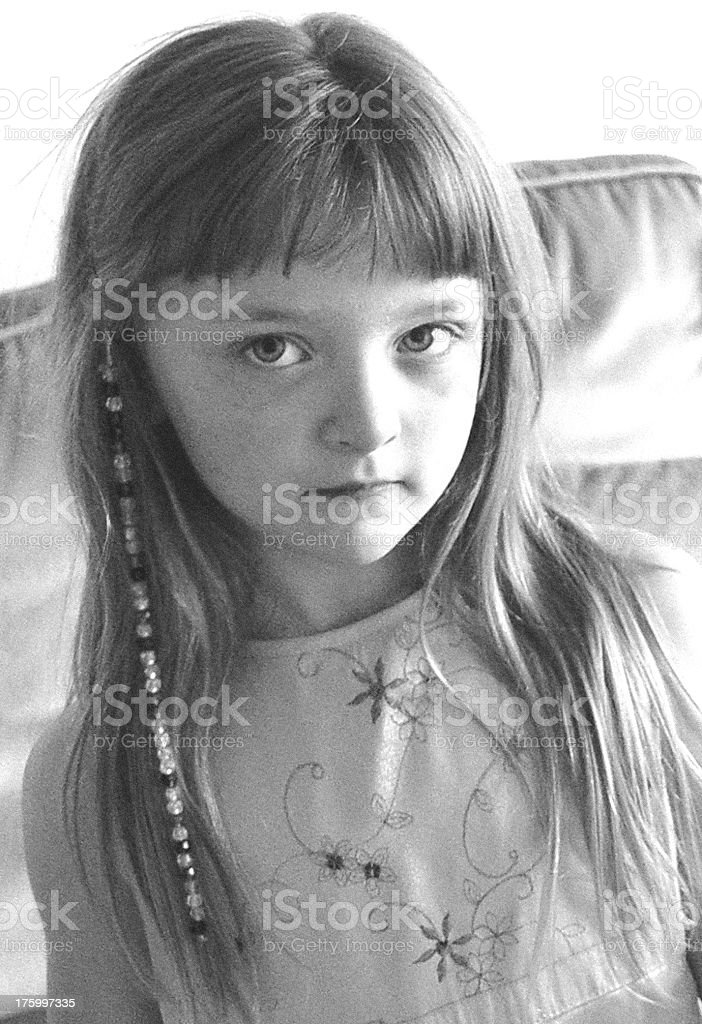 Young Girl (b&w) royalty-free stock photo