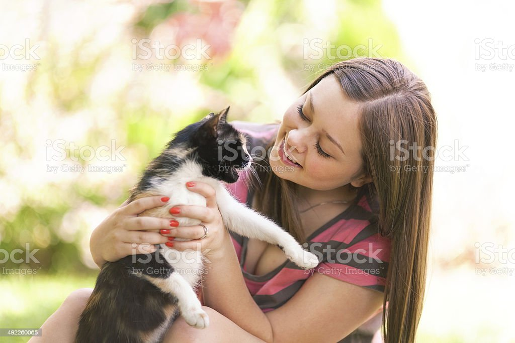 Young girl plays with cat stock photo